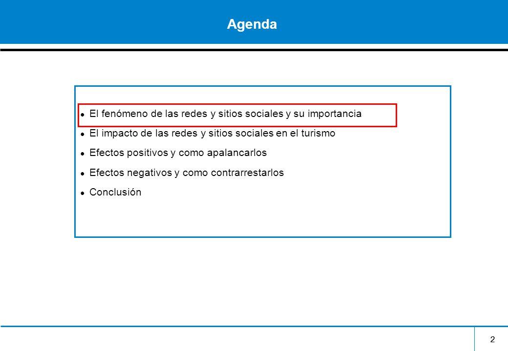 22 Agenda El fenómeno de las redes y sitios sociales y su importancia El impacto de las redes y sitios sociales en el turismo Efectos positivos y como