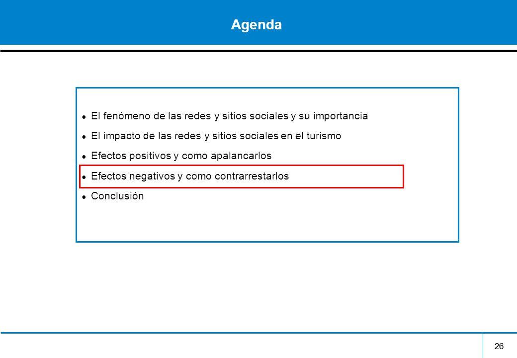26 Agenda El fenómeno de las redes y sitios sociales y su importancia El impacto de las redes y sitios sociales en el turismo Efectos positivos y como