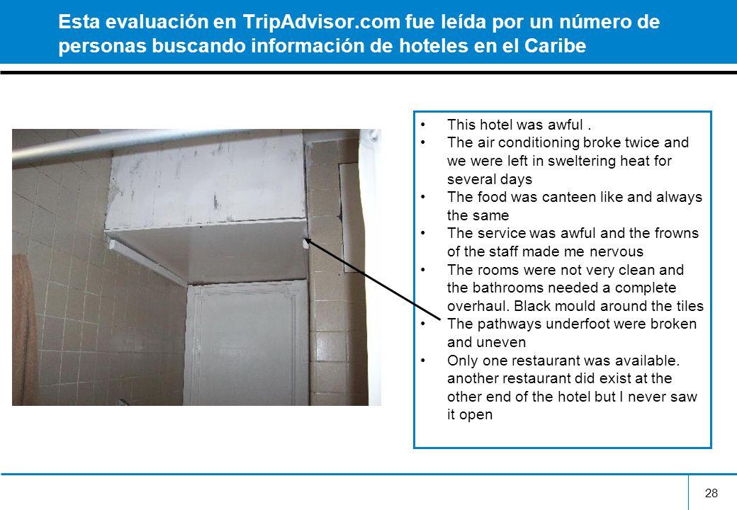 28 Esta evaluación en TripAdvisor.com fue leída por un número de personas buscando información de hoteles en el Caribe This hotel was awful. The air c