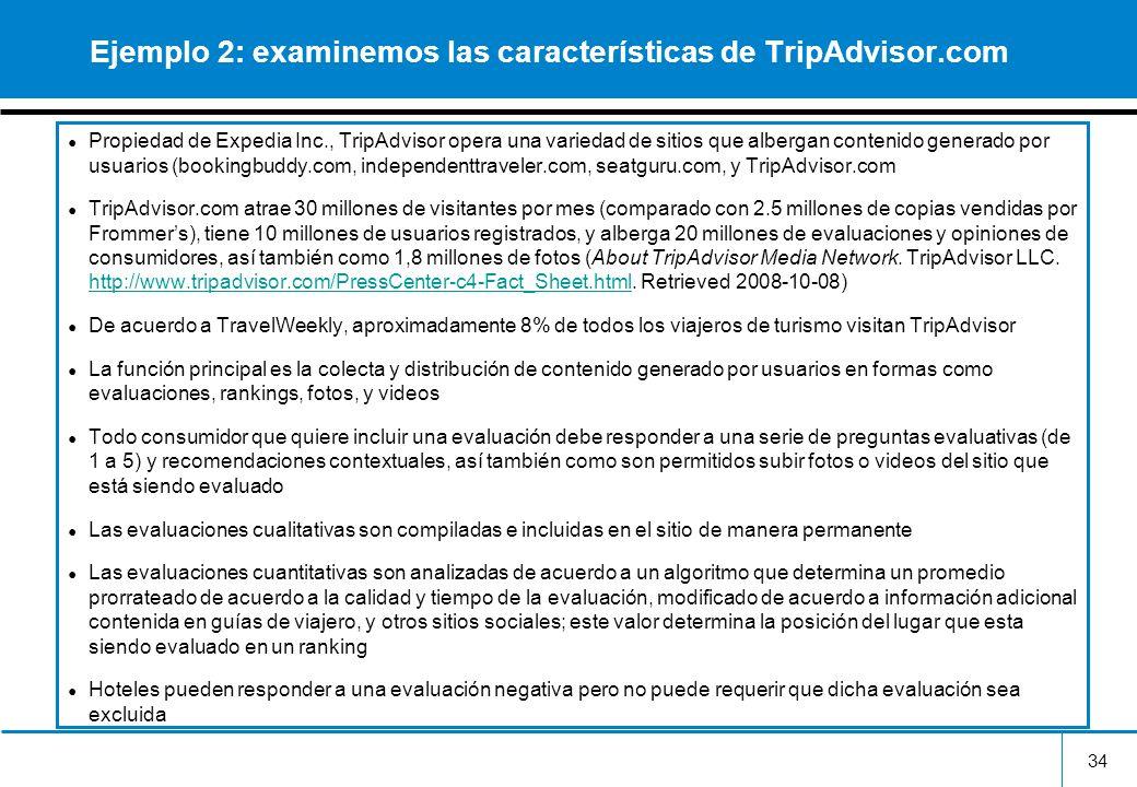 34 Ejemplo 2: examinemos las características de TripAdvisor.com Propiedad de Expedia Inc., TripAdvisor opera una variedad de sitios que albergan conte