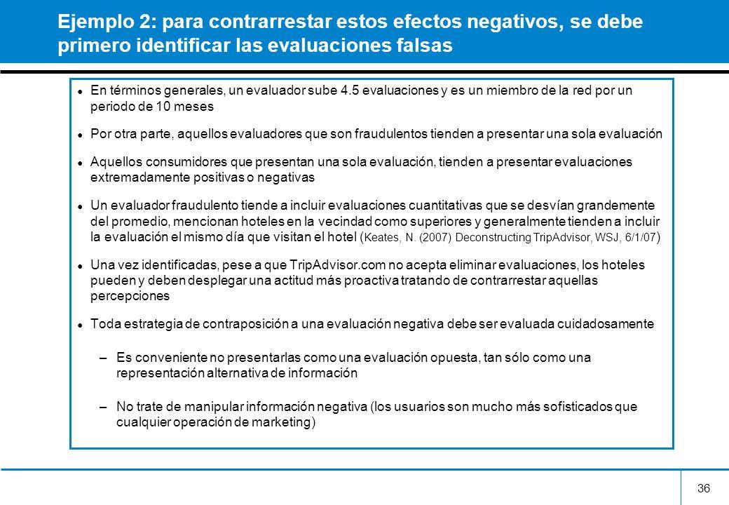 36 Ejemplo 2: para contrarrestar estos efectos negativos, se debe primero identificar las evaluaciones falsas En términos generales, un evaluador sube