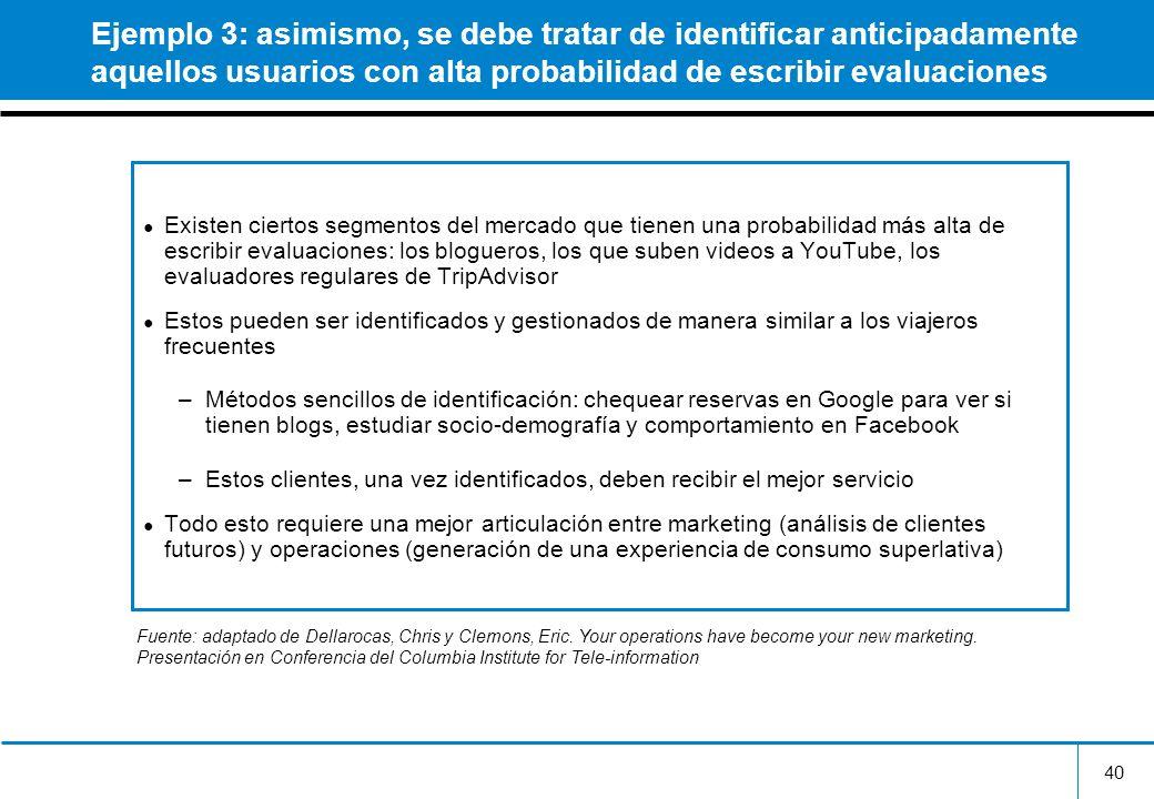40 Ejemplo 3: asimismo, se debe tratar de identificar anticipadamente aquellos usuarios con alta probabilidad de escribir evaluaciones Existen ciertos