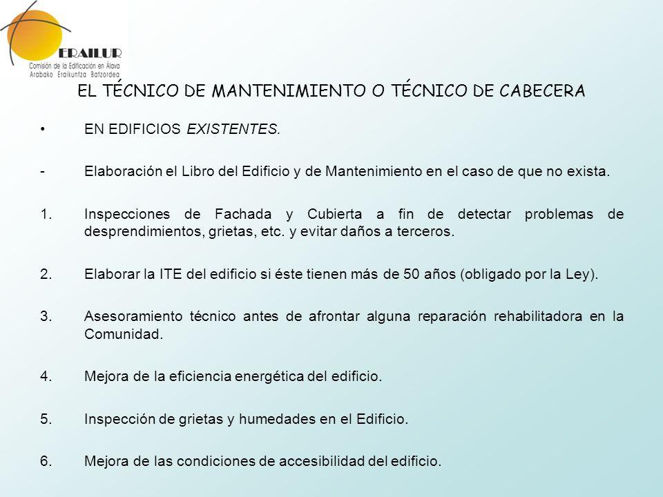 EL TÉCNICO DE MANTENIMIENTO O TÉCNICO DE CABECERA EN EDIFICIOS EXISTENTES. - Elaboración el Libro del Edificio y de Mantenimiento en el caso de que no