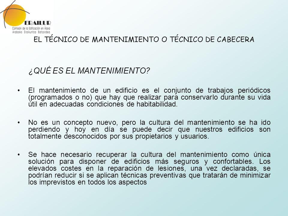 EL TÉCNICO DE MANTENIMIENTO O TÉCNICO DE CABECERA ¿QUÉ ES EL MANTENIMIENTO? El mantenimiento de un edificio es el conjunto de trabajos periódicos (pro
