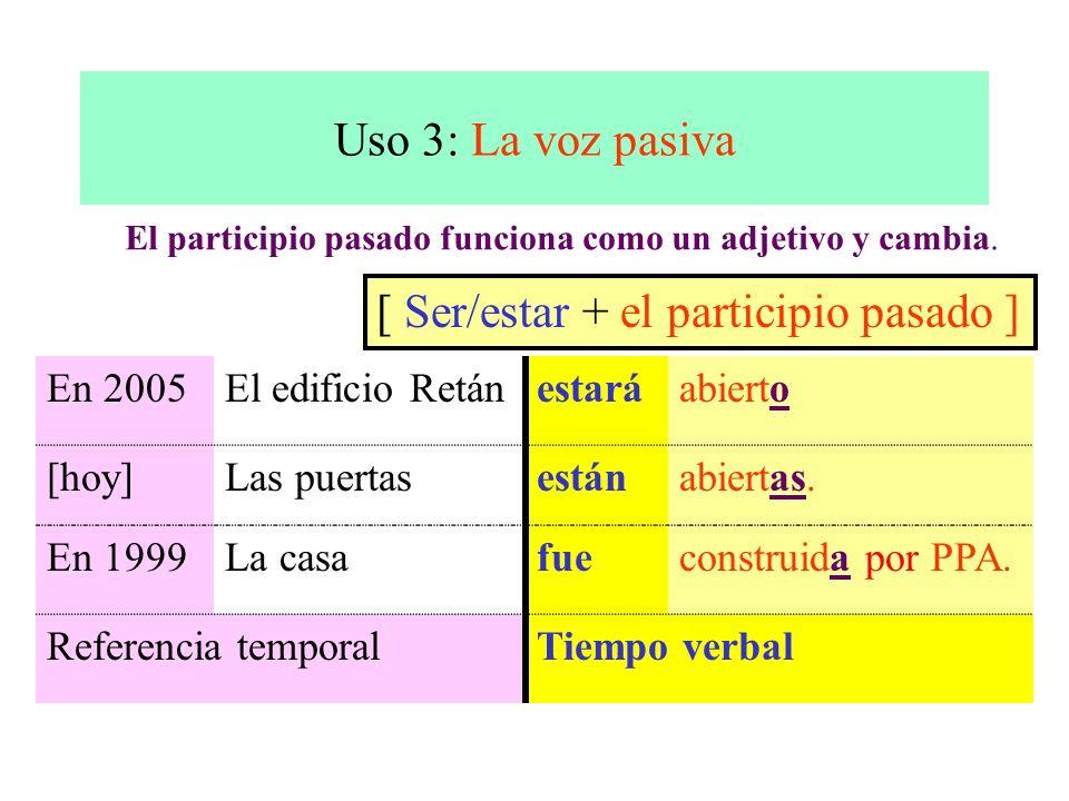 Uso 3: La voz pasiva [ Ser/estar + el participio pasado ] En 2005El edificio Retánestaráabierto [hoy]Las puertasestánabiertas. En 1999La casafueconstr