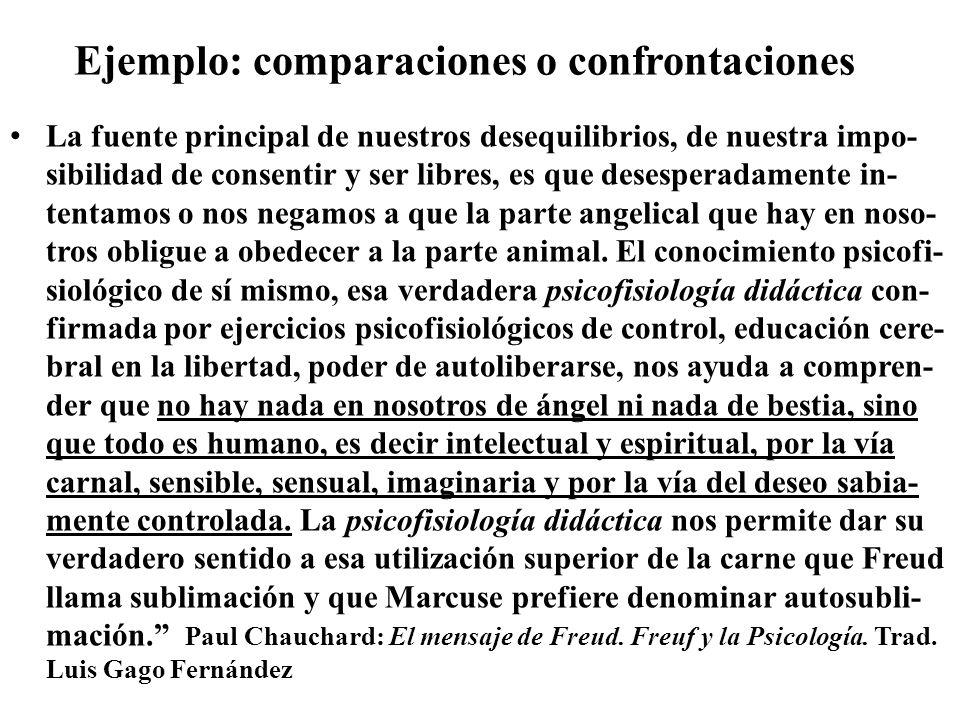 Ejemplo: comparaciones o confrontaciones La fuente principal de nuestros desequilibrios, de nuestra impo- sibilidad de consentir y ser libres, es que