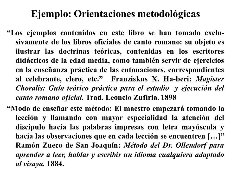 Ejemplo: Orientaciones metodológicas Los ejemplos contenidos en este libro se han tomado exclu- sivamente de los libros oficiales de canto romano: su