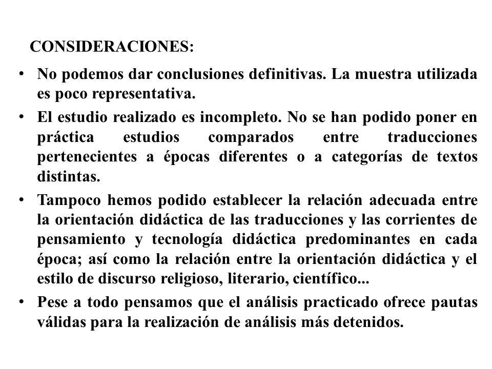 CONSIDERACIONES: No podemos dar conclusiones definitivas. La muestra utilizada es poco representativa. El estudio realizado es incompleto. No se han p