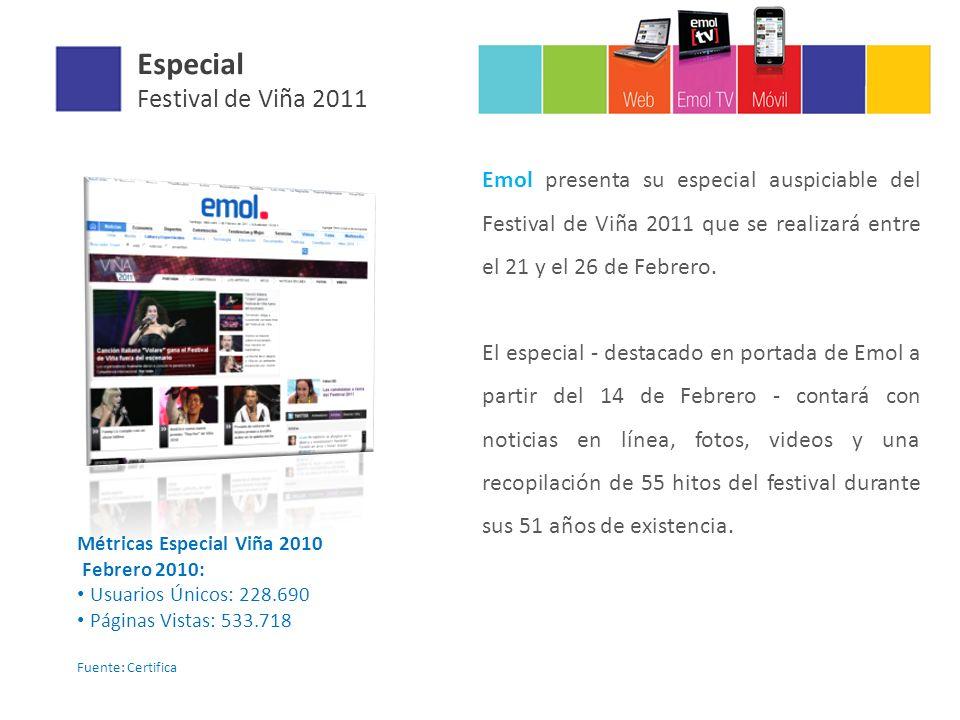 Especial Festival de Viña 2011 Emol presenta su especial auspiciable del Festival de Viña 2011 que se realizará entre el 21 y el 26 de Febrero.