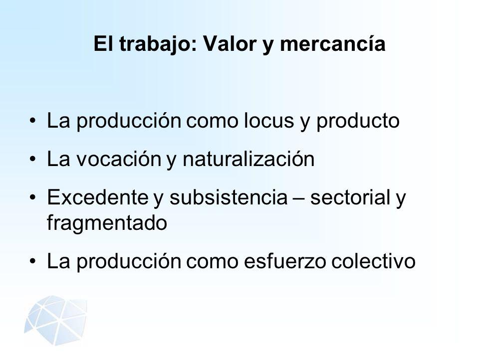 El trabajo: Valor y mercancía La producción como locus y producto La vocación y naturalización Excedente y subsistencia – sectorial y fragmentado La p