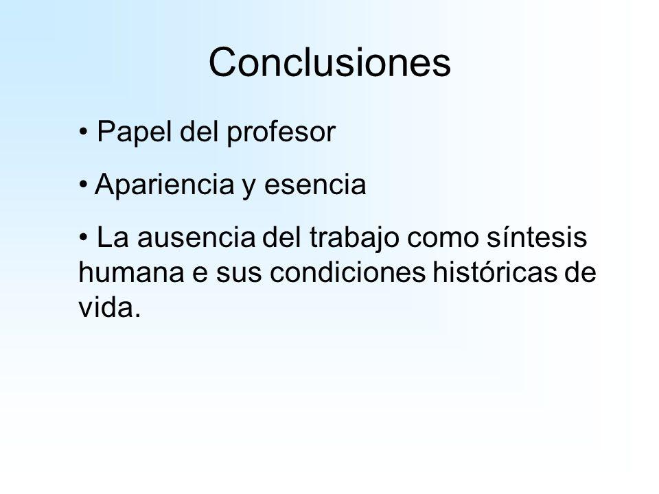 Conclusiones Papel del profesor Apariencia y esencia La ausencia del trabajo como síntesis humana e sus condiciones históricas de vida.