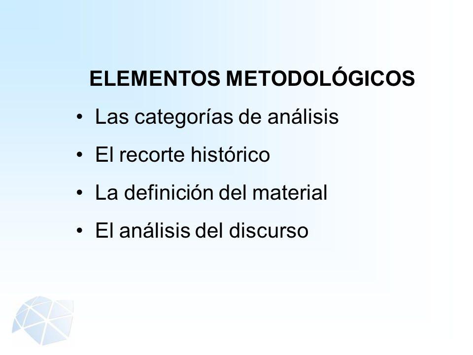 ELEMENTOS METODOLÓGICOS Las categorías de análisis El recorte histórico La definición del material El análisis del discurso