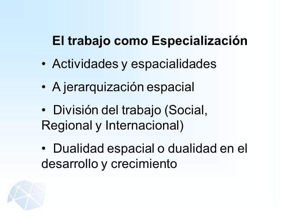 El trabajo como Especialización Actividades y espacialidades A jerarquización espacial División del trabajo (Social, Regional y Internacional) Dualida