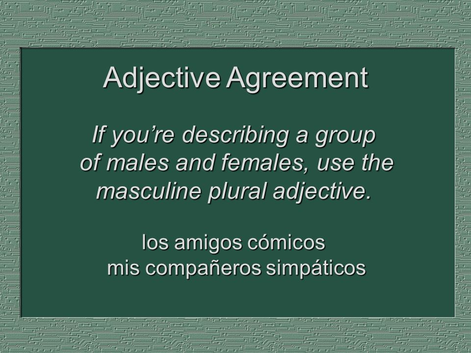 Adjectives ending in –e or a consonant such as l, r or n have only two forms: singular and plural.