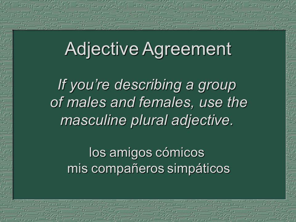 Subjects and verbs must agree.Yo soy simpática. Tú eres bonita.