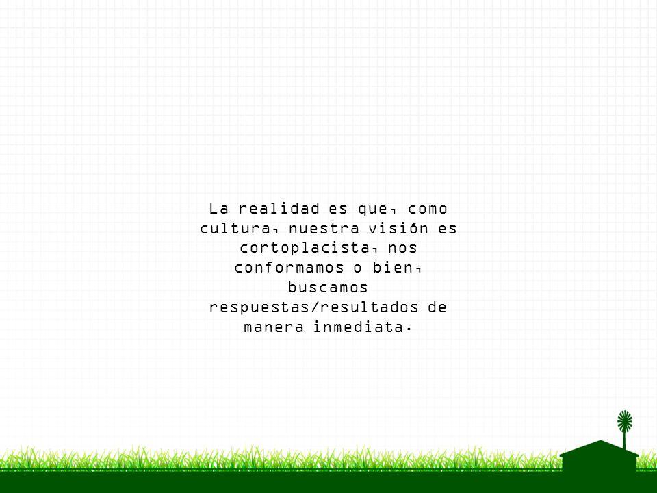 La realidad es que, como cultura, nuestra visión es cortoplacista, nos conformamos o bien, buscamos respuestas/resultados de manera inmediata.