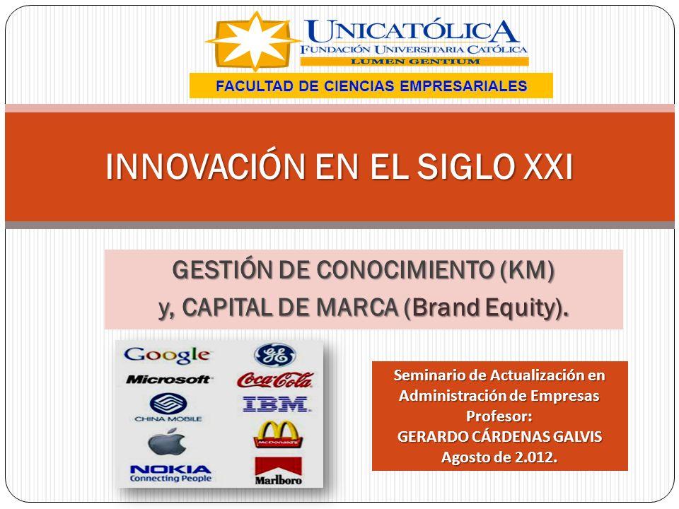 INNOVACIÓN EN EL SIGLO XXI FACULTAD DE CIENCIAS EMPRESARIALES GESTIÓN DE CONOCIMIENTO (KM) y, CAPITAL DE MARCA (Brand Equity). Seminario de Actualizac