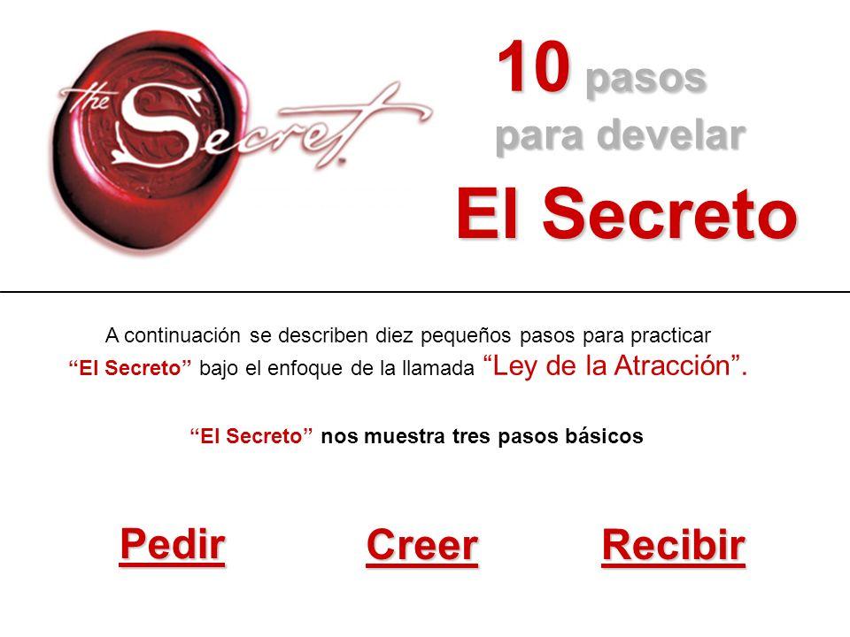 10 pasos para develar El Secreto El Secreto nos muestra tres pasos básicos Pedir CreerRecibir A continuación se describen diez pequeños pasos para pra