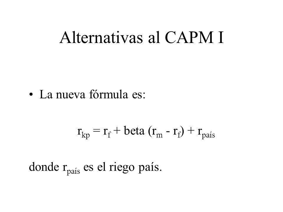Alternativas al CAPM I La nueva fórmula es: r kp = r f + beta (r m - r f ) + r país donde r país es el riego país.