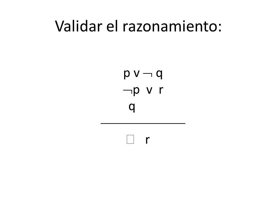 Validar el razonamiento: p v q p v r q r