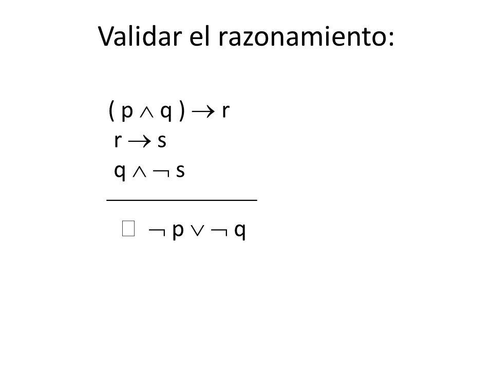 ( p q ) r r s q s p q Validar el razonamiento: