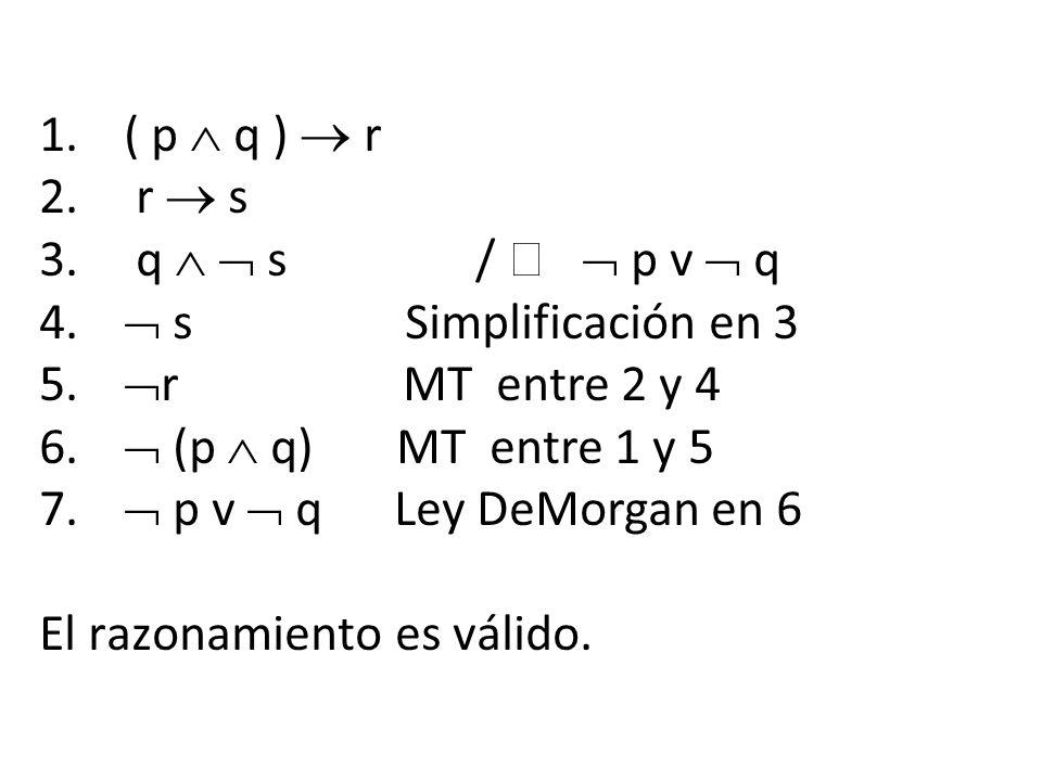 1.( p q ) r 2. r s 3. q s / p v q 4. s Simplificación en 3 5. r MT entre 2 y 4 6. (p q) MT entre 1 y 5 7. p v q Ley DeMorgan en 6 El razonamiento es v
