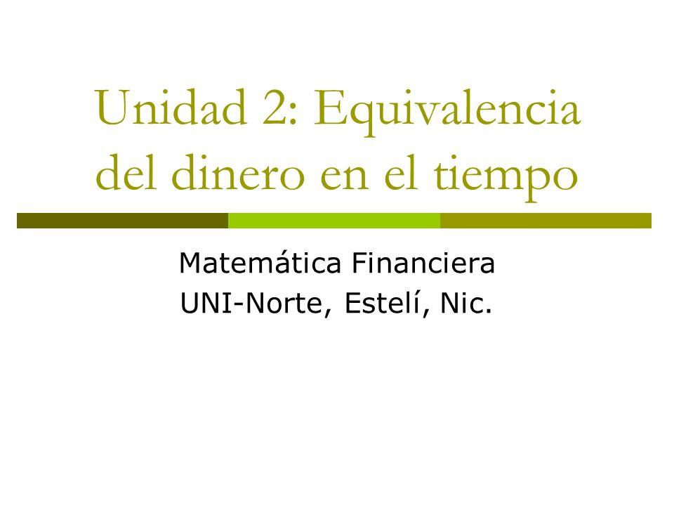 Unidad 2: Equivalencia del dinero en el tiempo Matemática Financiera UNI-Norte, Estelí, Nic.