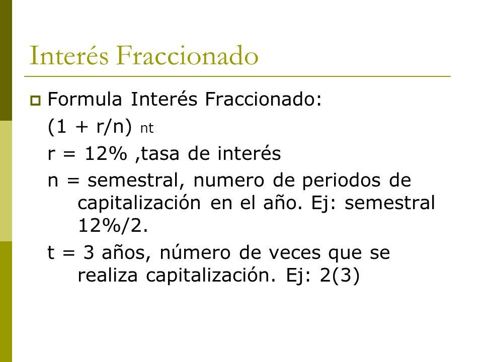 Interés Fraccionado Formula Interés Fraccionado: (1 + r/n) nt r = 12%,tasa de interés n = semestral, numero de periodos de capitalización en el año. E