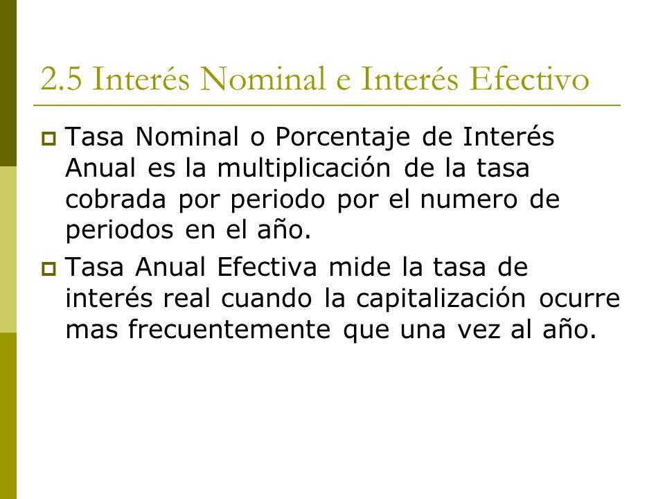 2.5 Interés Nominal e Interés Efectivo Tasa Nominal o Porcentaje de Interés Anual es la multiplicación de la tasa cobrada por periodo por el numero de