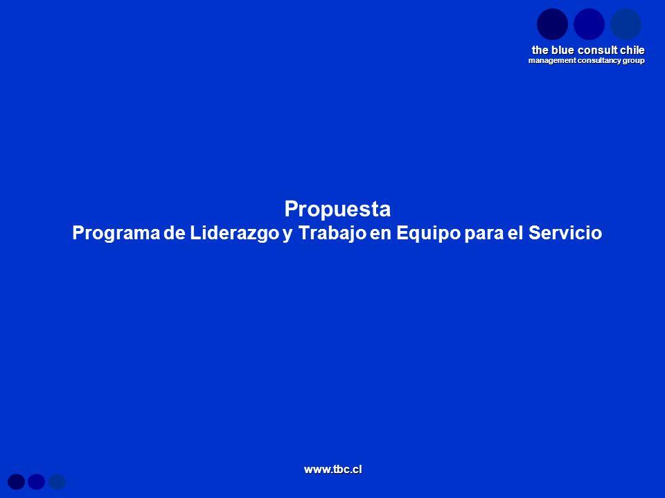 management consultancy group the blue consult chile www.tbc.cl Propuesta Programa de Liderazgo y Trabajo en Equipo para el Servicio