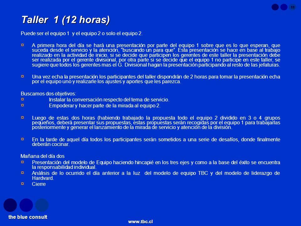 the blue consult www.tbc.cl 11 Taller 1 (12 horas) Puede ser el equipo 1 y el equipo 2 o solo el equipo 2. ¤ A primera hora del día se hará una presen