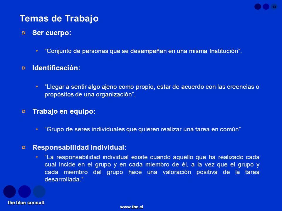 the blue consult www.tbc.cl 13 ¤Ser cuerpo: Conjunto de personas que se desempeñan en una misma Institución. ¤Identificación: Llegar a sentir algo aje