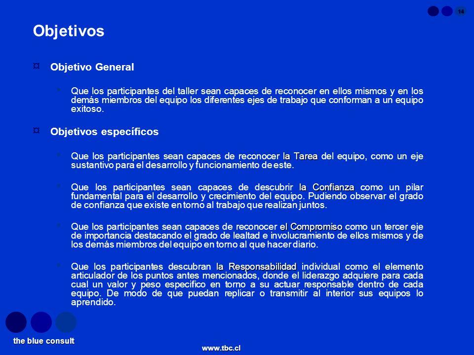 the blue consult www.tbc.cl 14 Objetivos ¤ Objetivo General Que los participantes del taller sean capaces de reconocer en ellos mismos y en los demás