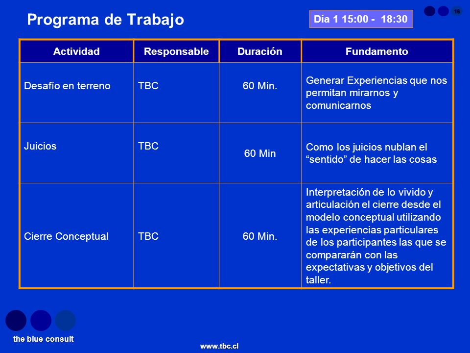 the blue consult www.tbc.cl 16 ActividadResponsableDuraciónFundamento Desafío en terrenoTBC60 Min. Generar Experiencias que nos permitan mirarnos y co