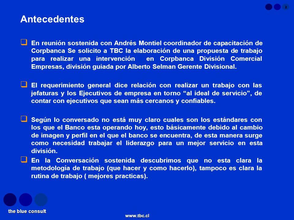 the blue consult www.tbc.cl 2 Antecedentes En reunión sostenida con Andrés Montiel coordinador de capacitación de Corpbanca Se solicito a TBC la elabo