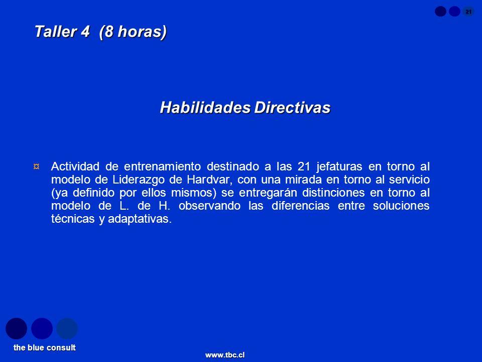the blue consult www.tbc.cl 21 Taller 4 (8 horas) Habilidades Directivas ¤Actividad de entrenamiento destinado a las 21 jefaturas en torno al modelo d