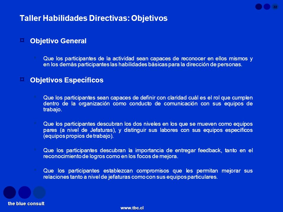 the blue consult www.tbc.cl 22 Taller Habilidades Directivas: Objetivos ¤ Objetivo General Que los participantes de la actividad sean capaces de recon
