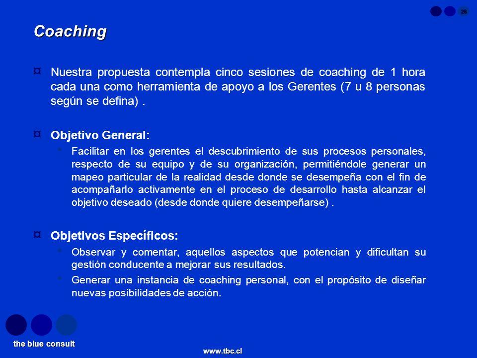 the blue consult www.tbc.cl 26 Coaching ¤ Nuestra propuesta contempla cinco sesiones de coaching de 1 hora cada una como herramienta de apoyo a los Ge