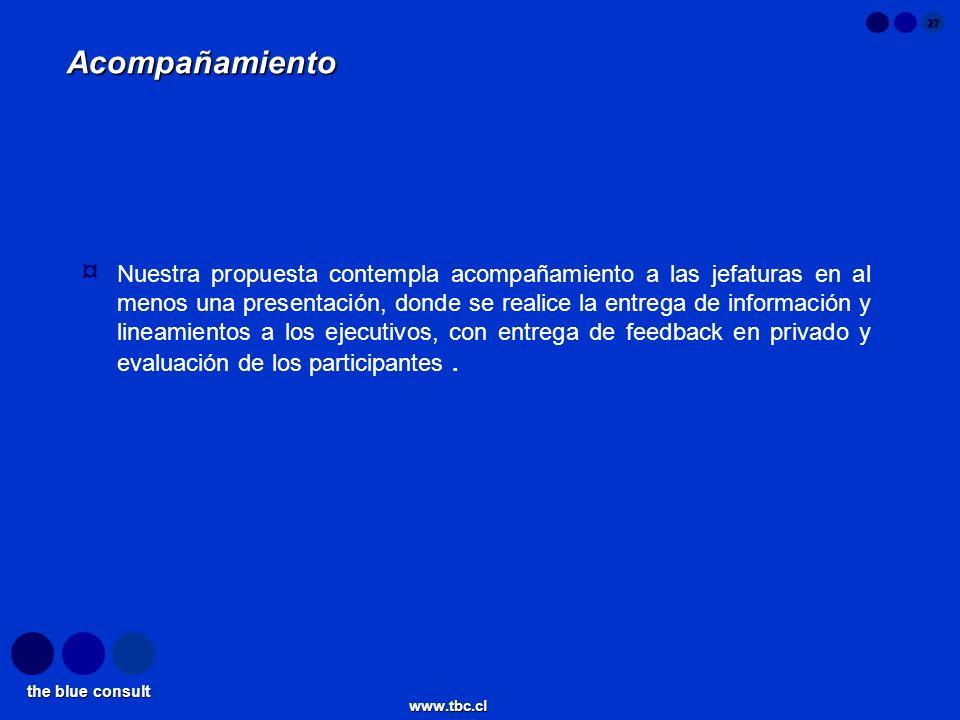the blue consult www.tbc.cl 27 Acompañamiento ¤ Nuestra propuesta contempla acompañamiento a las jefaturas en al menos una presentación, donde se real