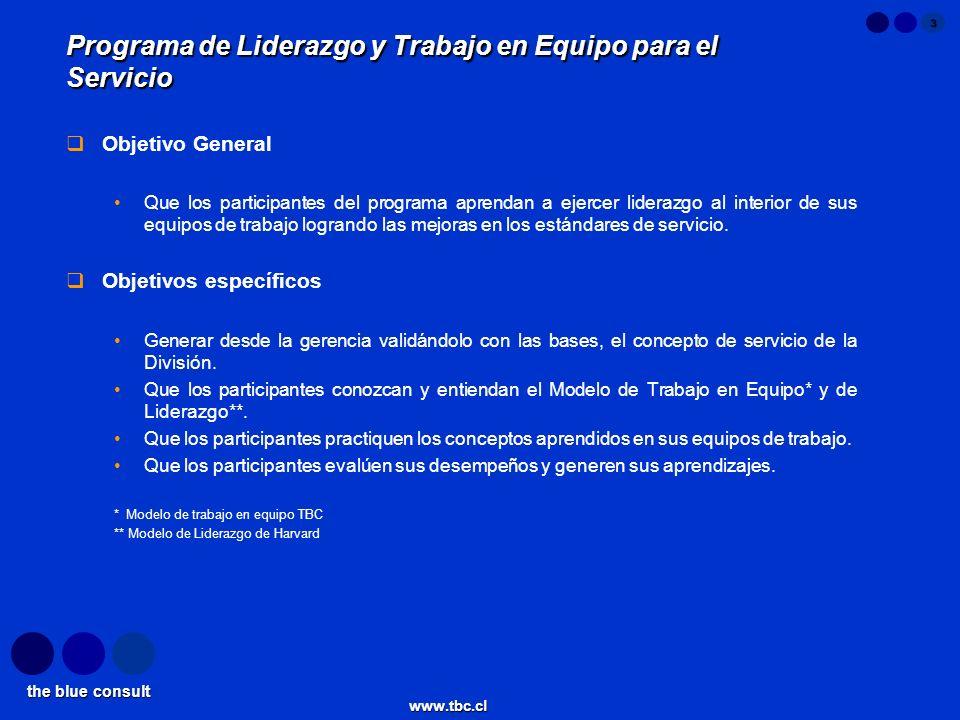 the blue consult www.tbc.cl 3 Programa de Liderazgo y Trabajo en Equipo para el Servicio Objetivo General Que los participantes del programa aprendan