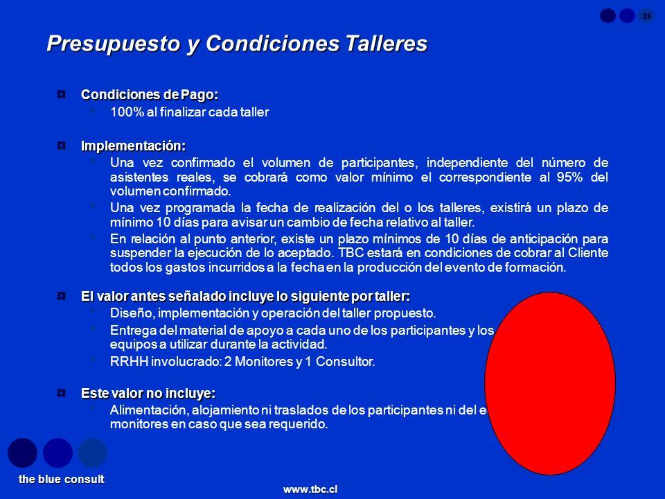 the blue consult www.tbc.cl 31 Presupuesto y Condiciones Talleres ¤ Condiciones de Pago: 100% al finalizar cada taller ¤ Implementación: Una vez confi