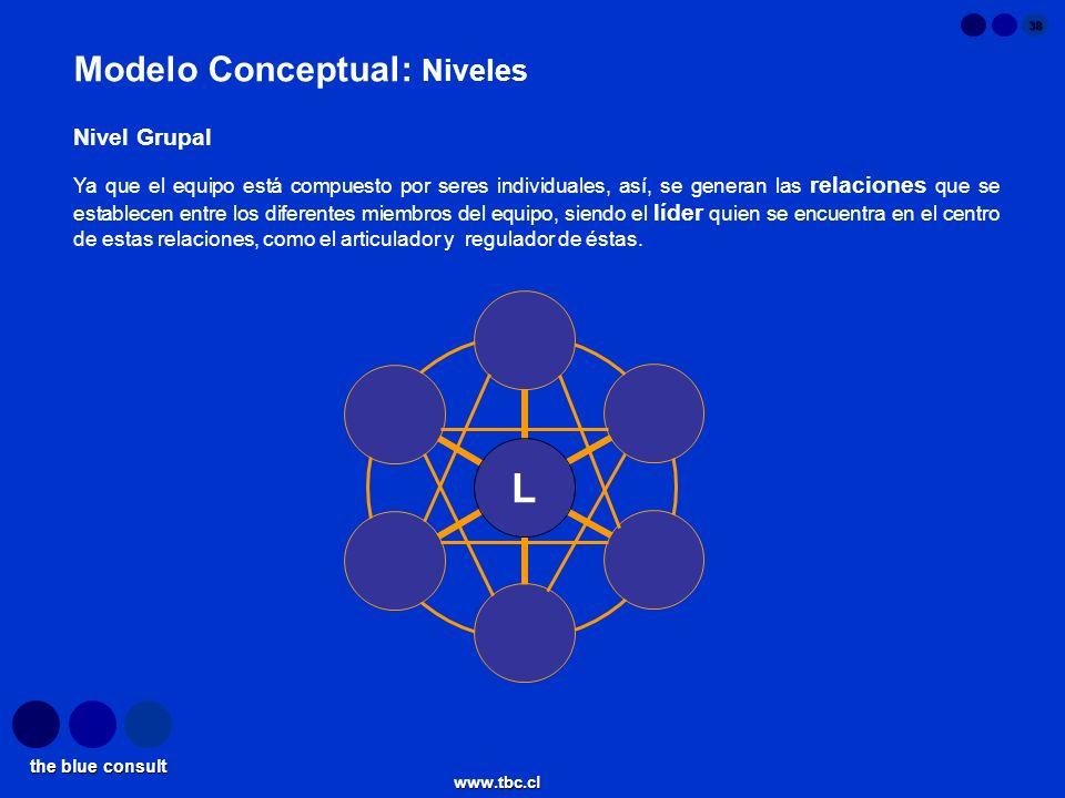 the blue consult www.tbc.cl 38 L Modelo Conceptual: Niveles Ya que el equipo está compuesto por seres individuales, así, se generan las relaciones que