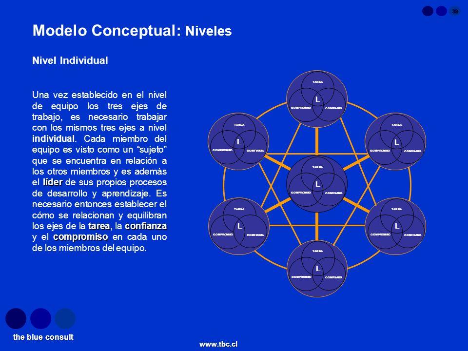 the blue consult www.tbc.cl 39 Modelo Conceptual: Niveles líder tareaconfianza compromiso Una vez establecido en el nivel de equipo los tres ejes de t