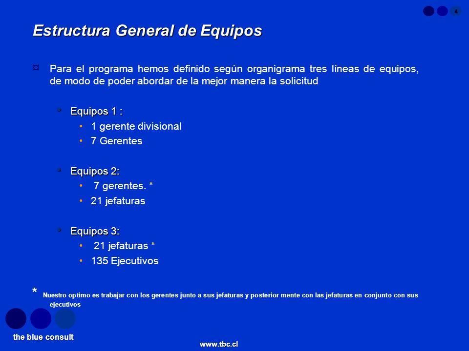 the blue consult www.tbc.cl 5 Organización de la División Gerente Divisional 21 Jefaturas Gerente 1 Gerente 2 Gerente 3 Gerente 4 Gerente 5 Gerente 6 Gerente 7 135 Ejecutivos 1 2 3
