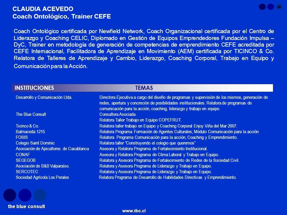 the blue consult www.tbc.cl 45 INSTITUCIONES TEMAS CLAUDIA ACEVEDO Coach Ontológico, Trainer CEFE Desarrollo y Comunicación Ltda.Directora Ejecutiva a