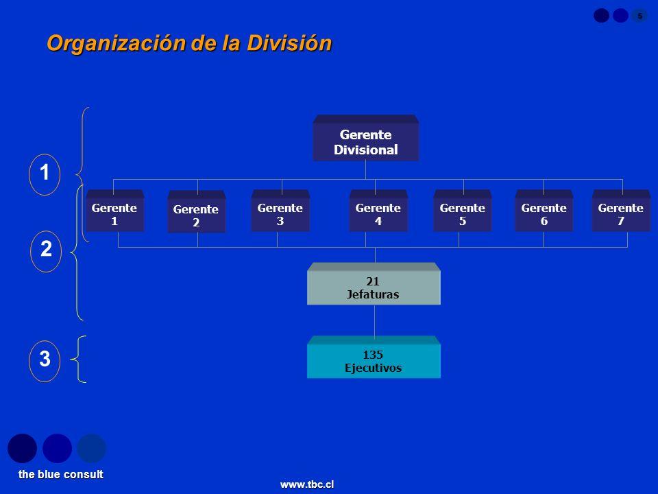 the blue consult www.tbc.cl 5 Organización de la División Gerente Divisional 21 Jefaturas Gerente 1 Gerente 2 Gerente 3 Gerente 4 Gerente 5 Gerente 6