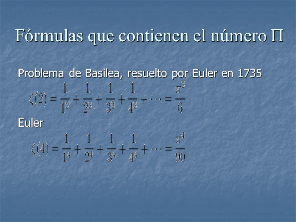 Fórmulas que contienen el número Π Problema de Basilea, resuelto por Euler en 1735 Euler