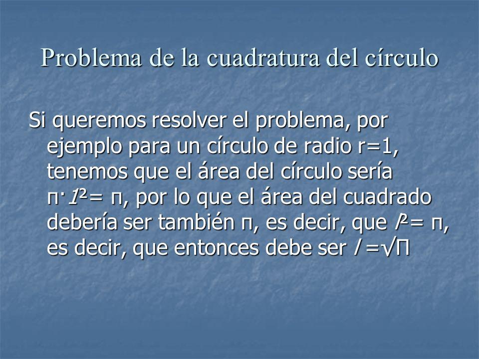 Problema de la cuadratura del círculo Si queremos resolver el problema, por ejemplo para un círculo de radio r=1, tenemos que el área del círculo serí