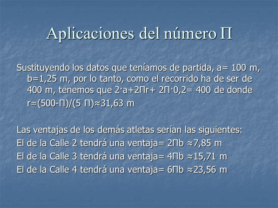 Aplicaciones del número Π Sustituyendo los datos que teníamos de partida, a= 100 m, b=1,25 m, por lo tanto, como el recorrido ha de ser de 400 m, tene