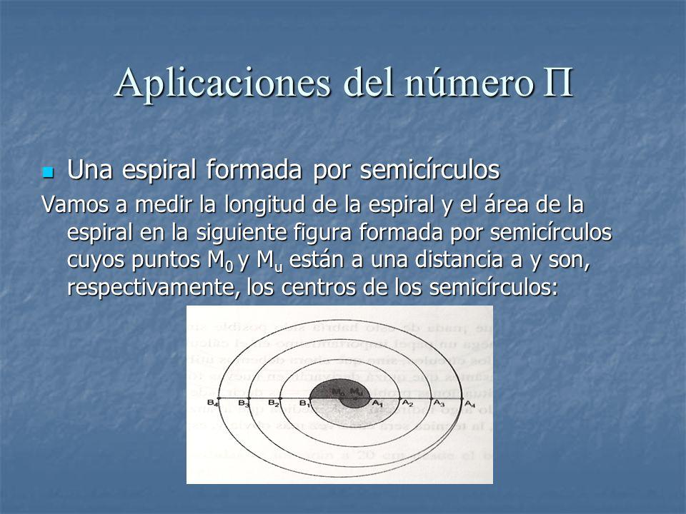 Aplicaciones del número Π Una espiral formada por semicírculos Una espiral formada por semicírculos Vamos a medir la longitud de la espiral y el área